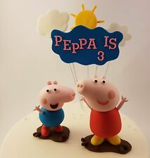 Edible 3D Peppa Pig George Muddy Puddle Cake Topper Sun Clouds Name Age Figurine