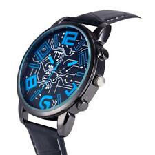 Men's Luxury Fashion Blue & Black Classic Design Quartz Black Band Wrist Watch.