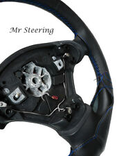 FOR FORD GALAXY MK3 06-10 REAL BLACK LEATHER STEERING WHEEL COVER BLUE STITCHING