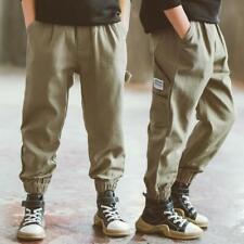 Kids Cotton Casual Pants Teen Boys Sport Joggers Trousers Harem Cargo Pants