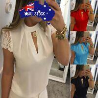 Womens Casual Chiffon Short Sleeve Splice Lace Crop Formal Tops Blouse T Shirt