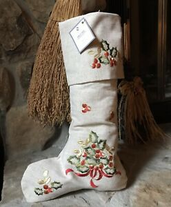Christmas Holly Embroidered Stocking, Red, Green & Gold On Neutral Background