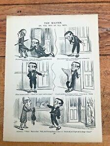 1878 cartoon print. the british working man. the waiter & templars triumph