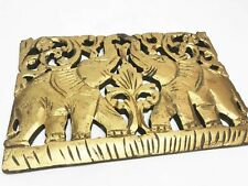 Thai Elephant Wooden Carved Wall Hanging Sculpture Panel Oriental Asian Decor