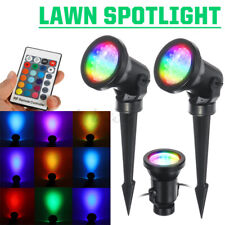 3in1 RGB Spot Light Outdoor 7 LED Garden Lawn Landscape Lamp +Remote US/EU Plug