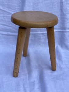 Vintage rustic wooden milking stool 3 Legs Farmhouse lovely aged condition Dutch