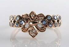 LUSH 9CT 9K ROSE GOLD  BLUE SAPPHIRE & DIAMOND ETERNITY ART DECO INS RING