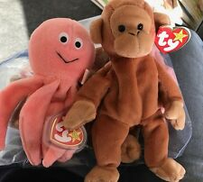 2 Ty Beanie Babies Baby Inky the Pink Octopus & Bongo the Monkey Plush Animals