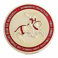 Knight Crusader Cross Souvenir Gold Plated Token Coins Commemorative Collection