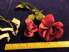 "Vtg Millinery Flower Collection 3/4-4"" Red Rose Paris France w/Buds Roses H2203"