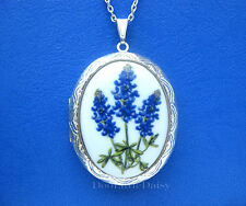 Porcelain TEXAS BLUEBONNET State Flower CAMEO Costume Jewelry ST Locket Necklace