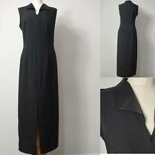 UK12 Black Formal Zip Sleeveless Straight Sheath Split Collard Maxi Dress VGC