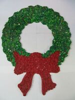"Plastic Art Christmas Wreath Melted Plastic Popcorn 20x15x1/2"" Vintage Classroom"