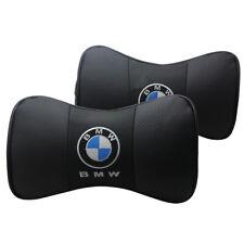 2 Stück Schwarz Farbe Echtleder Autositz Nackenkissen Auto Kopfstütze Für BMW