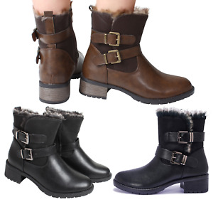 Womans Ankle High Grip Sole Heel Black Brown Boots Winter Warm Faux Fur Collar