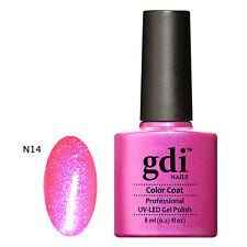 UK SELLER Gdi Nails N14 NEON PINK TUTTI-GLOW IN THE DARK Color UV/LED Soak Off