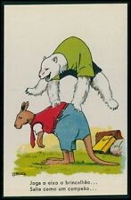 art Barata dressed animal White Polar Bear & Kangaroo original 1920s postcard
