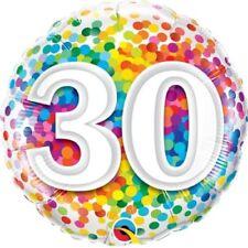 """30. Geburtstag Regenbogen Konfetti 18"""" Folien Ballon für Luft / Helium Qualatex"""
