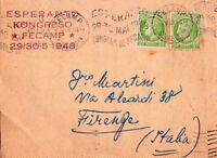 FRANCE - ESPERANTO KONGRESO FECAMP - RARA BUSTA DA FECAMP A FIRENZE - 1948