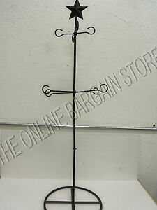 Black Wrought Iron Christmas Decor Candle Holder Scarf Stand Star Rustic Chic