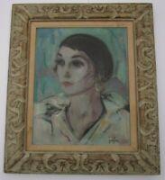 MYSTERY ARTIST SIGNED PAINTING ANTIQUE VINTAGE ART DECO PORTRAIT PRETTY WOMAN