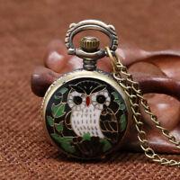 Vintage Mini Size Small Dial Owl Bronze Quartz Pocket Watch Necklace Chain Gift