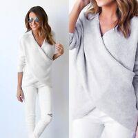 Women Long Sleeve Knitted Sweater Tops Loose Cardigan Outwear Coat Knitwear