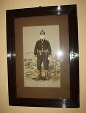 Soldaten Portrait mit Pickelhaube, Seitengewehr und Pistole-Kaiserzeit-gerahmt