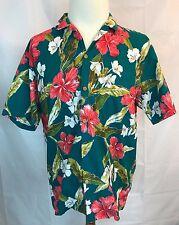 Paradise Found L. L. Bean Hawaiian Button Shirt Men's L Green Red Aloha Vtg