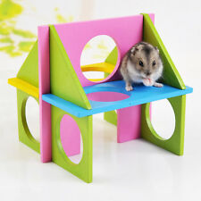 Wooden Natural Gym for Hamster Hedgehog Mouse Rabbit Playground Exercise Toys UK
