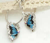 Stilvolle Frauen blau Schmetterling Kristall versilbert Hoop Huggie Ohrringe G3D