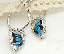 Stylish Women's Blue Butterfly Crystal Silver Plated Hoop Huggie Earrings L'