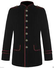 New Men's Military Style Coat Jacket Black Red Gothic Steampunk /Usa Sizes/Vtg