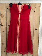 COAST Red Pink Silk Tie Dye Strapless Party Cocktail Wedding Dress UK 10