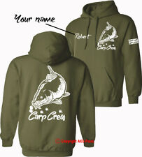 Personalised Carp Crew Hoodie big carp fishing carp angling HOODIES -WHITE PRINT