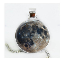 Moon Photo Cabochon Glass Glow In The Dark Pendant Necklaces Jewelry