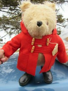 VINTAGE TEDDY BEAR GABRIELLE PADDINGTON ENGLAND RED COAT NO 5 BLACK BOOTS TAG 80