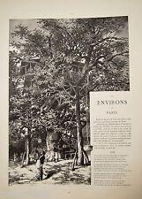ESTAMPE 19è Environs Paris Cabane arbre restaurant G. FRAIPONT typogravure 1885
