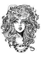"3"" Woman Sexy Medusa Hair Wild Snake Flower Biker Helmet Nice Vinyl Cool Sticker"