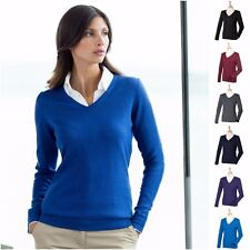 Ladies Womens Jumper Sweater V-Neck Golf Fine Knit Pullover Long Sleeve Top 6-22
