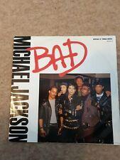 "MICHAEL JACKSON Bad 12"" VINYL 3 Track Dance Extended Mix Rare Vinyl Record 80's"