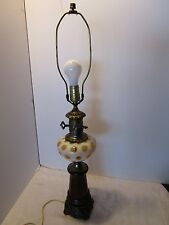 Vintage Fenton table lamp Honey suckle Opalescent Coin dot Art Glass Mid century