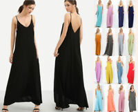 S-3X Women's Maxi Dress Long Casual Sleeveless Cami Loose Oversized Jersey Knit