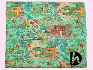Green Color Kantha Quilt Cotton Blanket King Size Indian Bedspread Bedding Throw