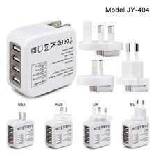 Quadapter 4 Port Universal 4 USB UK/EU/US Plugs World Travel Power Adapter JY404