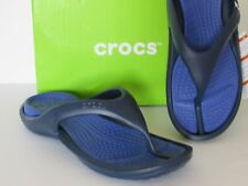 Crocs Athens Croslite Flip-Flops Comfort Sandals Black/Blue Mens Sz 7,9,10,11,12