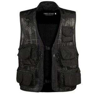 Men Fishing Hiking Vest Jacket Sleeveless Multi Pockets Coat Waistcoat Tops