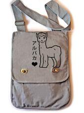 Alpaca Messenger Bag gray vertical bookbag school bag cute kawaii japan llama