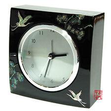 Horloge Réveil de Bureau Luxe Bois Laque Nacre Corée Asie Idée Cadeau original