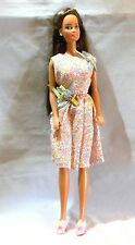 BARBIE DOLL TERESA PINK & BLUE FLOWER PRINT DRESS BOWS ON SHOE NEVER PLAYED WITH